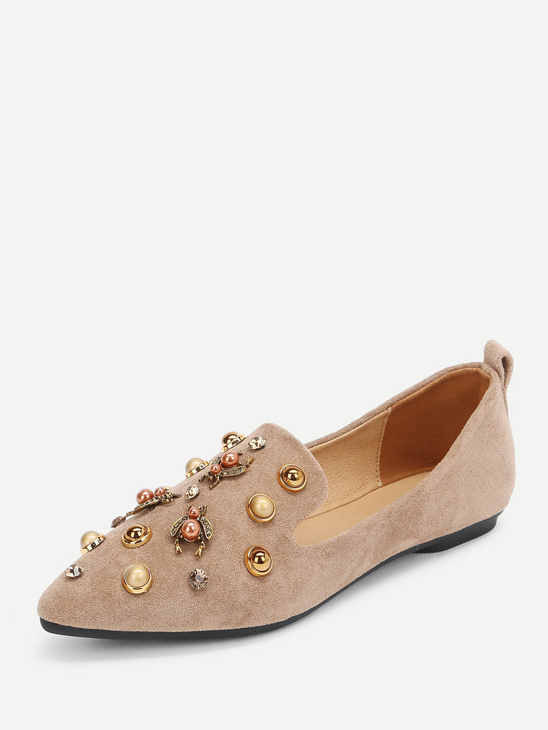 Faux Pearl Decorated Pointed Toe Flats (2)