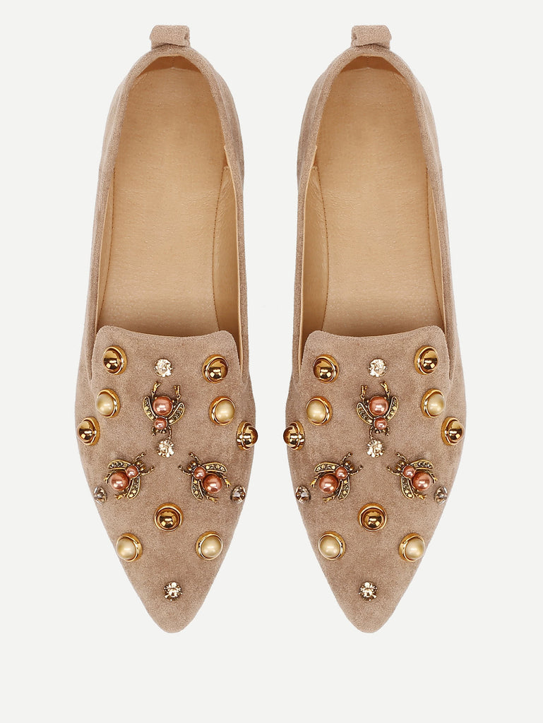 Faux Pearl Decorated Pointed Toe Flats (4)