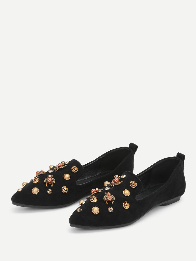 Faux Pearl Decorated Pointed Toe Flats (3)