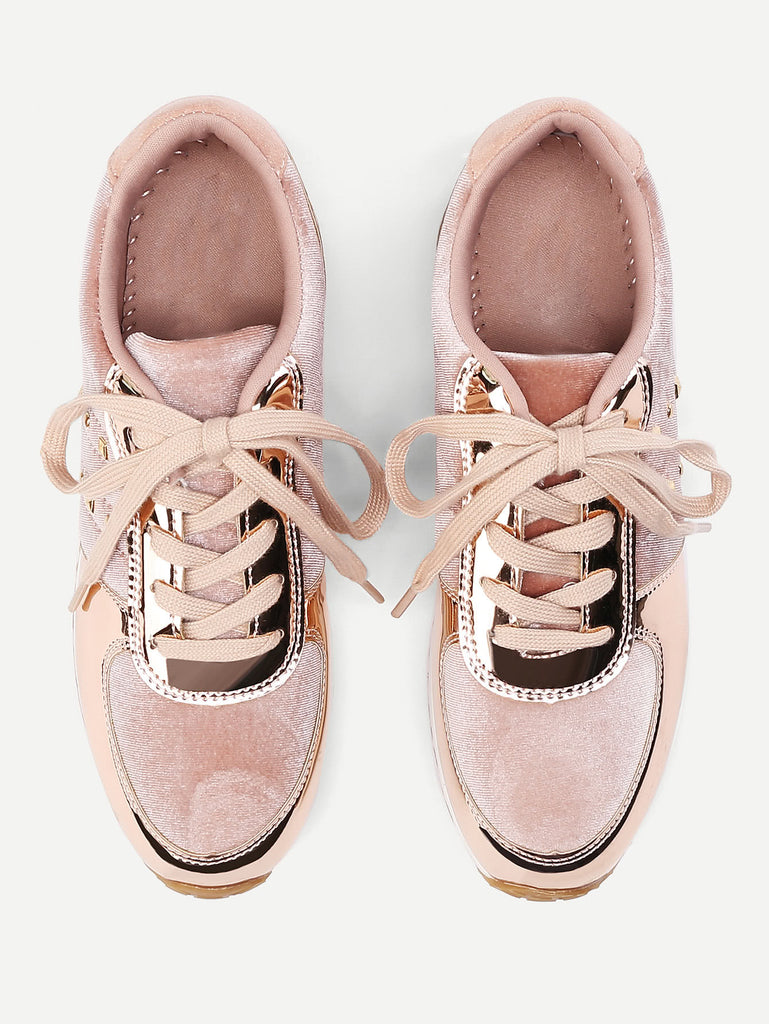 Metallic Insert Lace Up Velvet Sneakers (3)