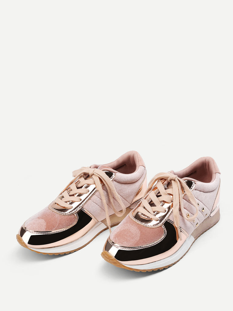 Metallic Insert Lace Up Velvet Sneakers (4)