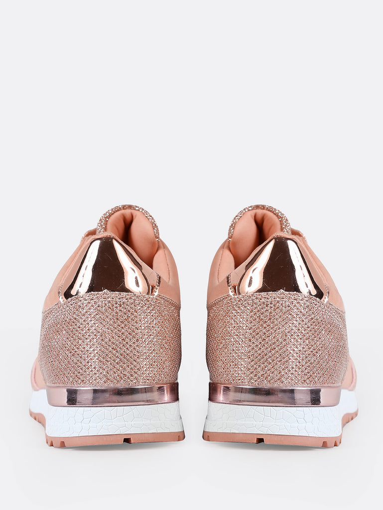 Lace Up Sneakers with Glitter Detail NUDE (3)
