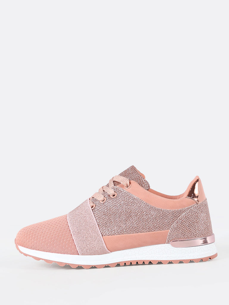 Lace Up Sneakers with Glitter Detail NUDE (2)