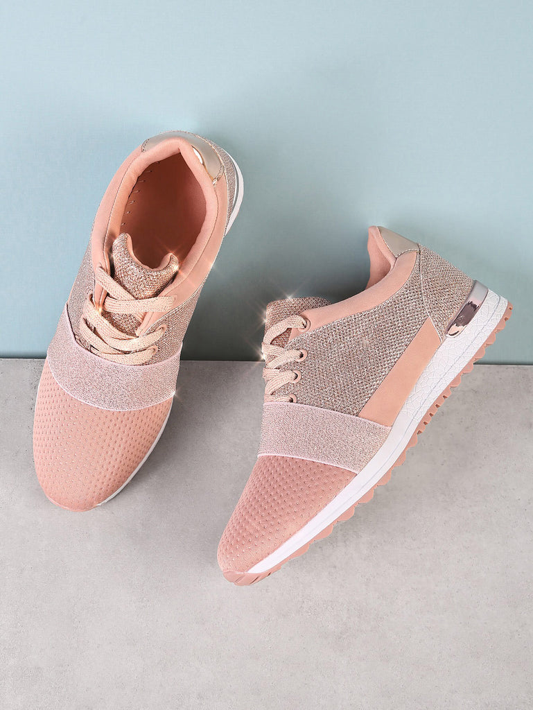 Lace Up Sneakers with Glitter Detail NUDE