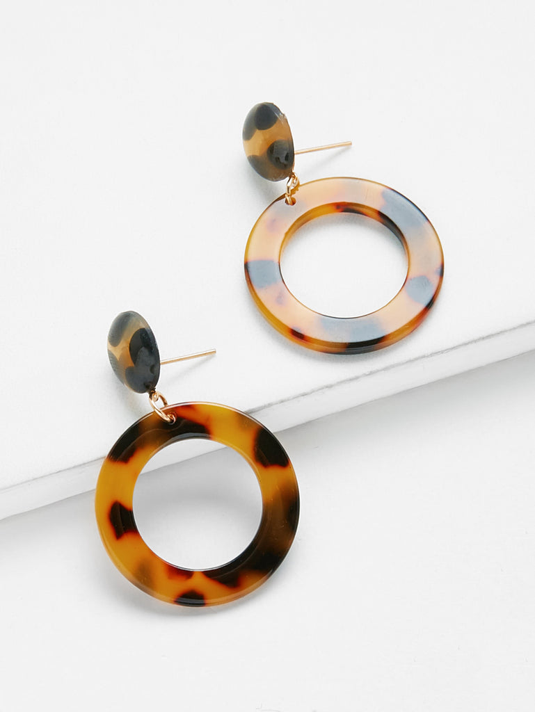 Open Ring Design Drop Earrings