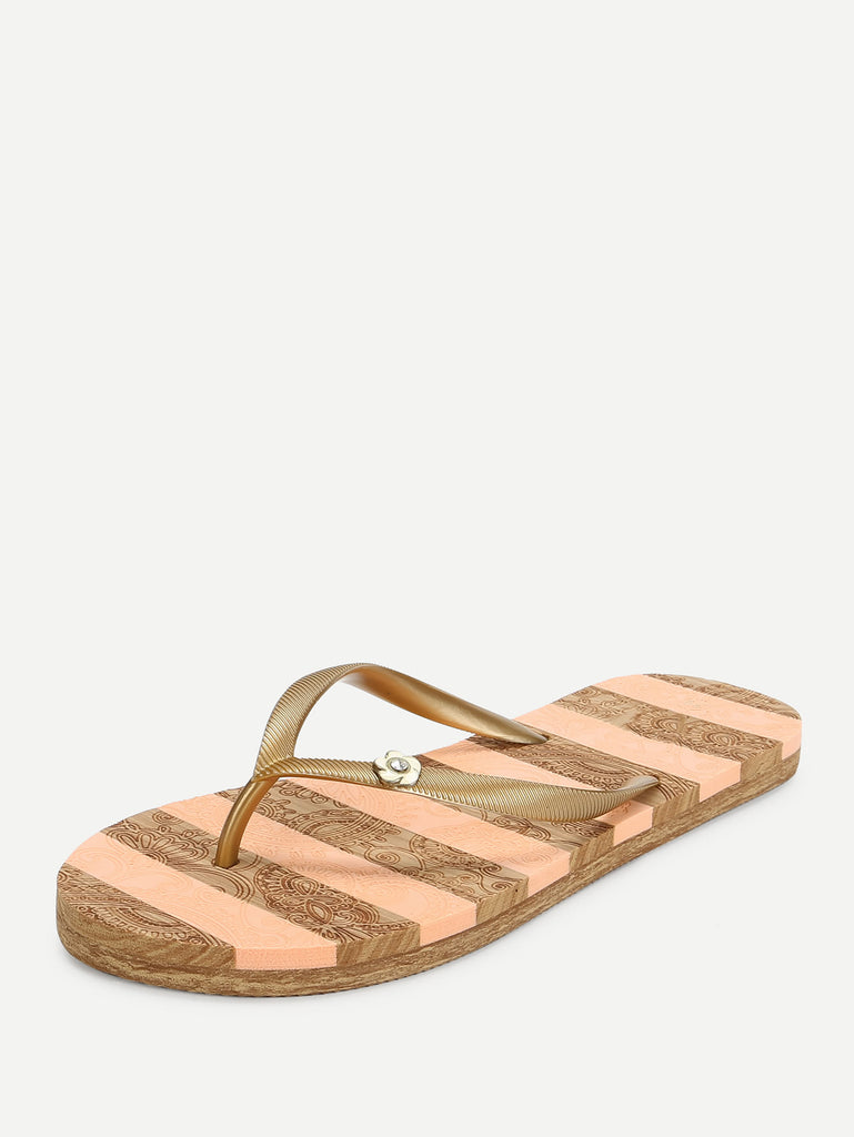 Block Striped Flip Flops (2)