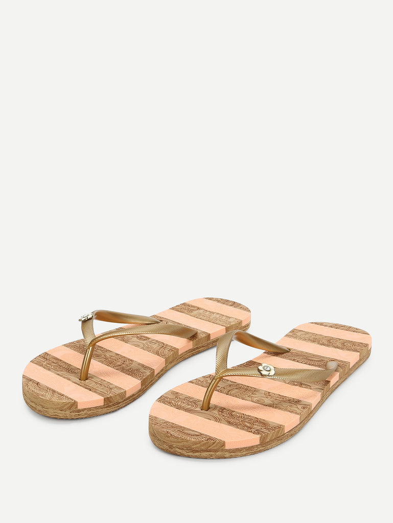 Block Striped Flip Flops (4)