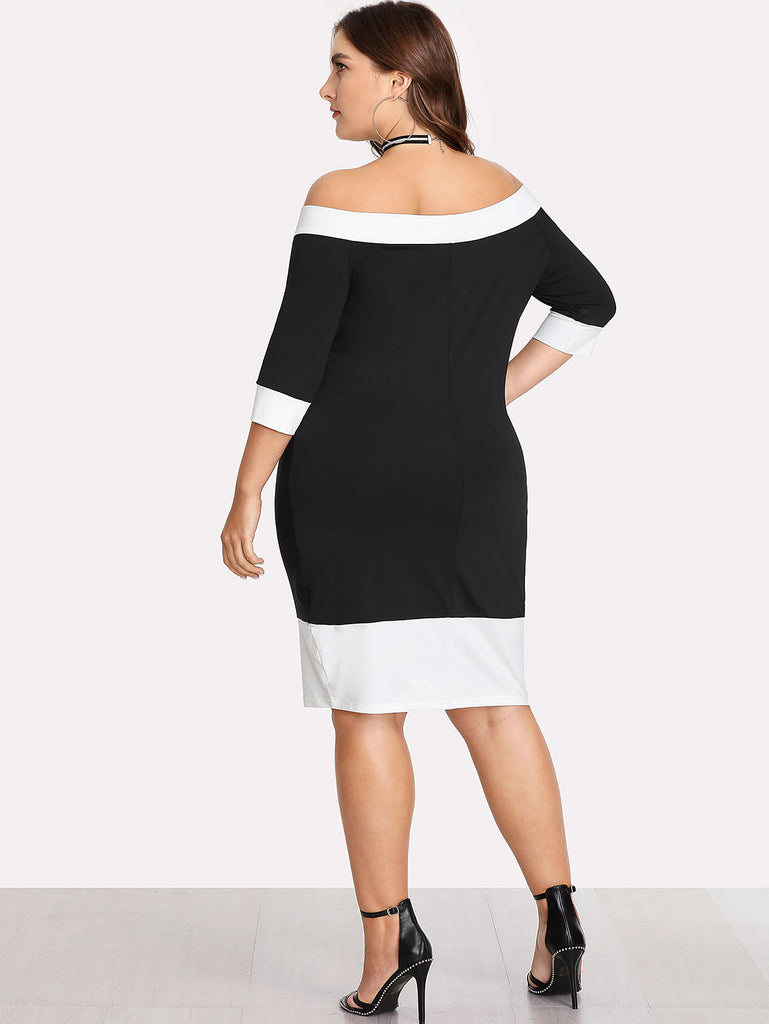 Contrast Trim Bardot Dress (3)