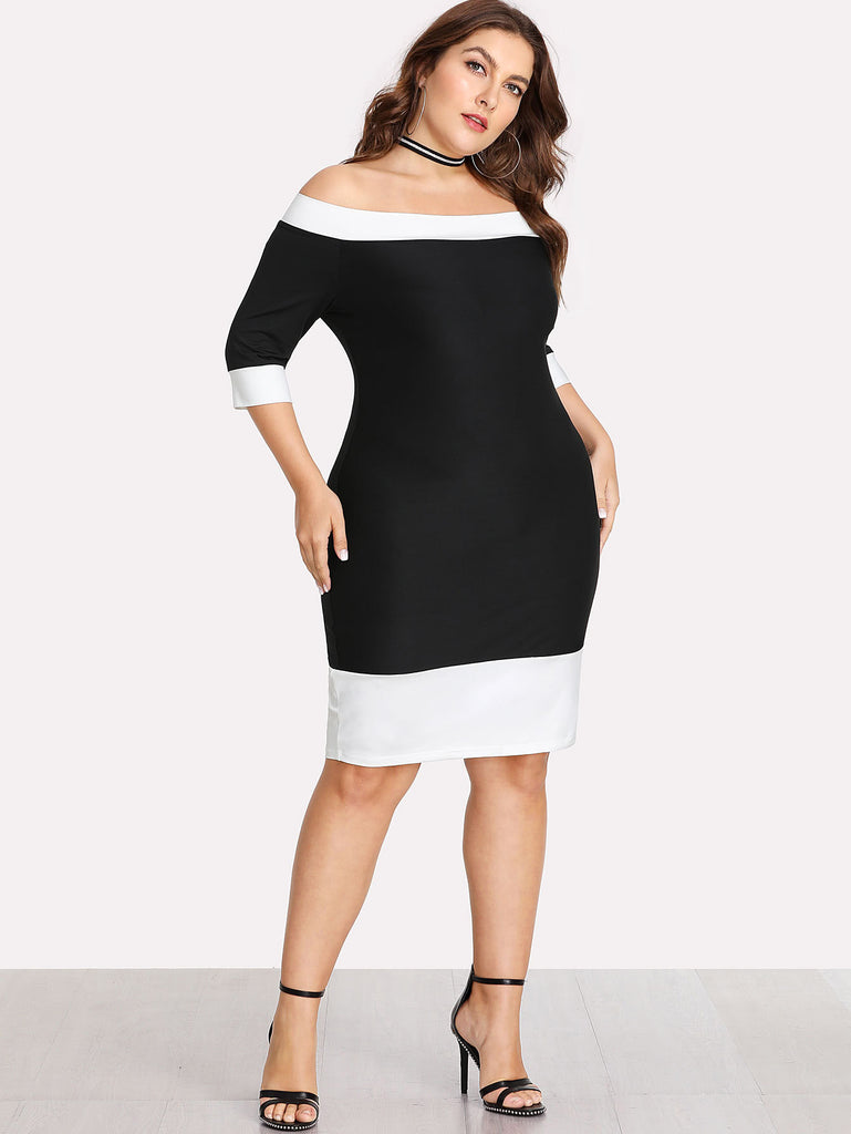 Contrast Trim Bardot Dress