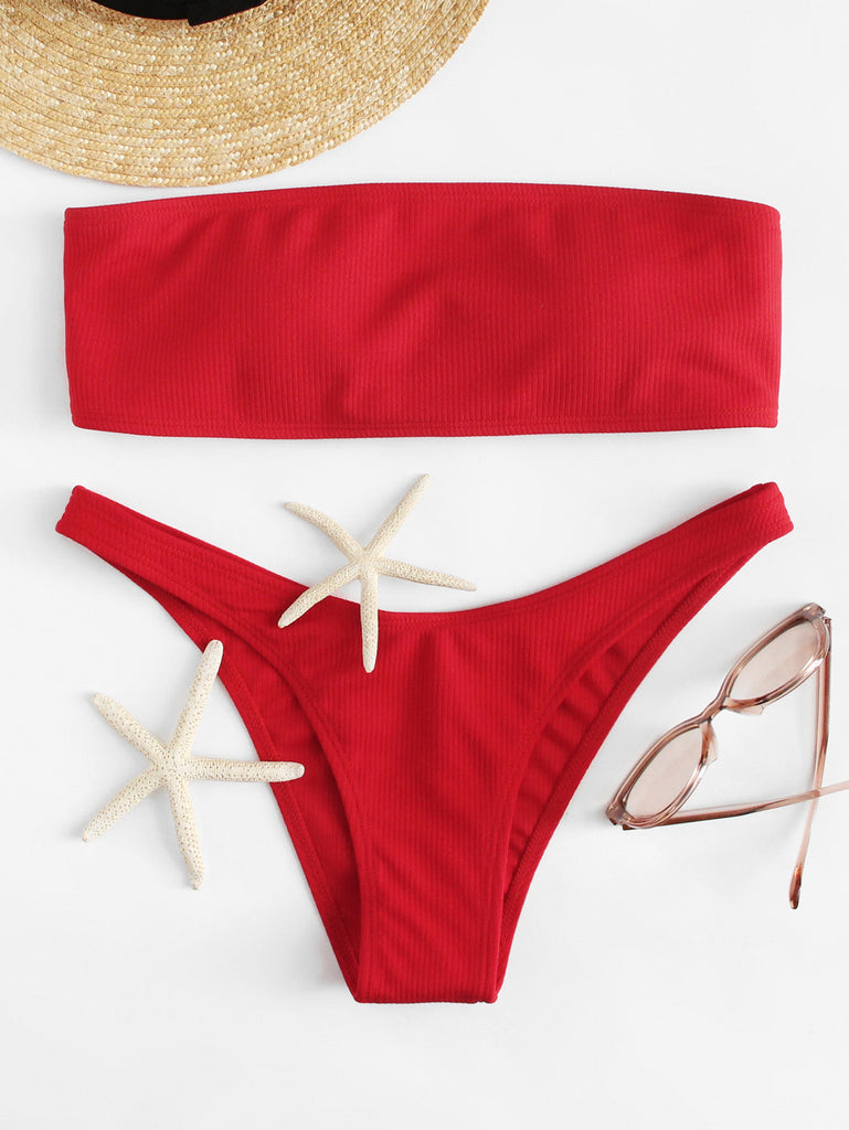 Lace Up Bandeau Bikini Set (4)