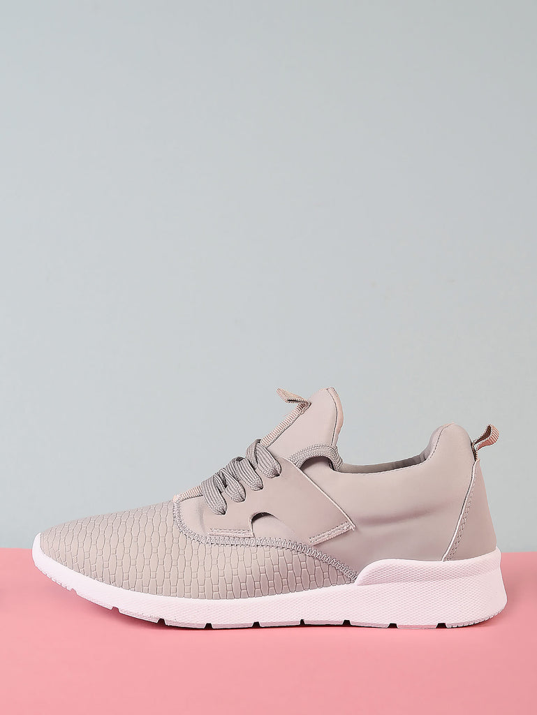 Lace Up Sneakers with Pattern Detail GREY
