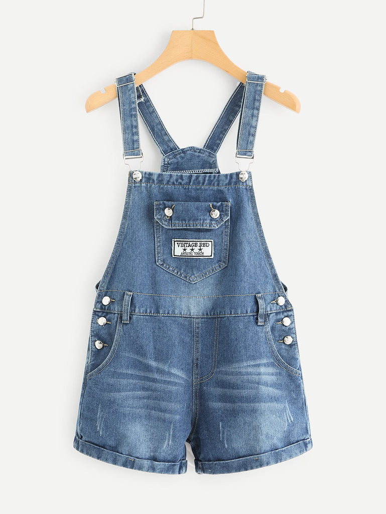Pocket Front Denim Overalls