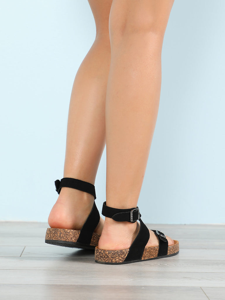 Criss Cross Strapped Cork Footbed Sandal BLACK (3)