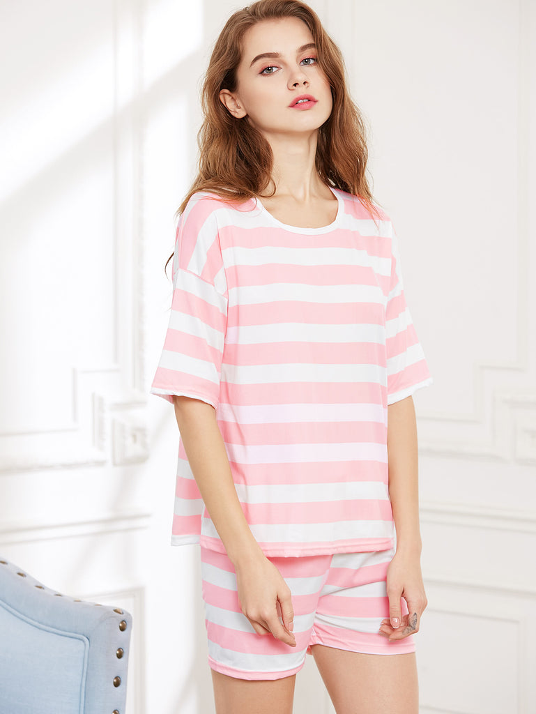 Contrast Striped Tee And Shorts Pajama Set (2)