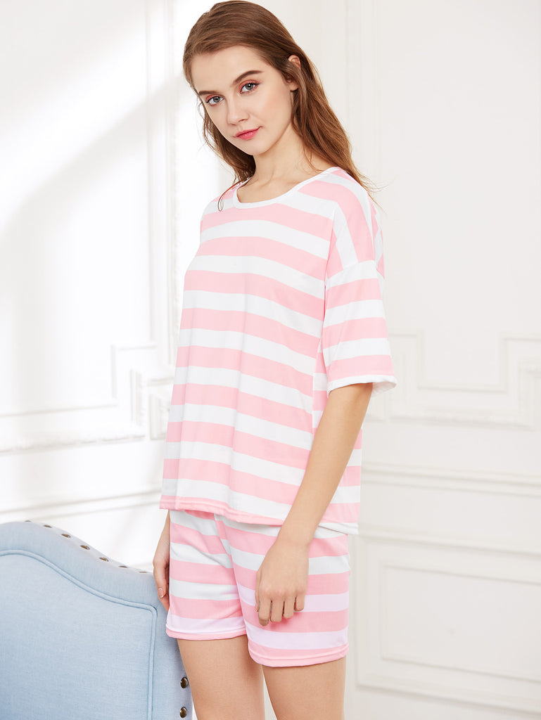 Contrast Striped Tee And Shorts Pajama Set (4)