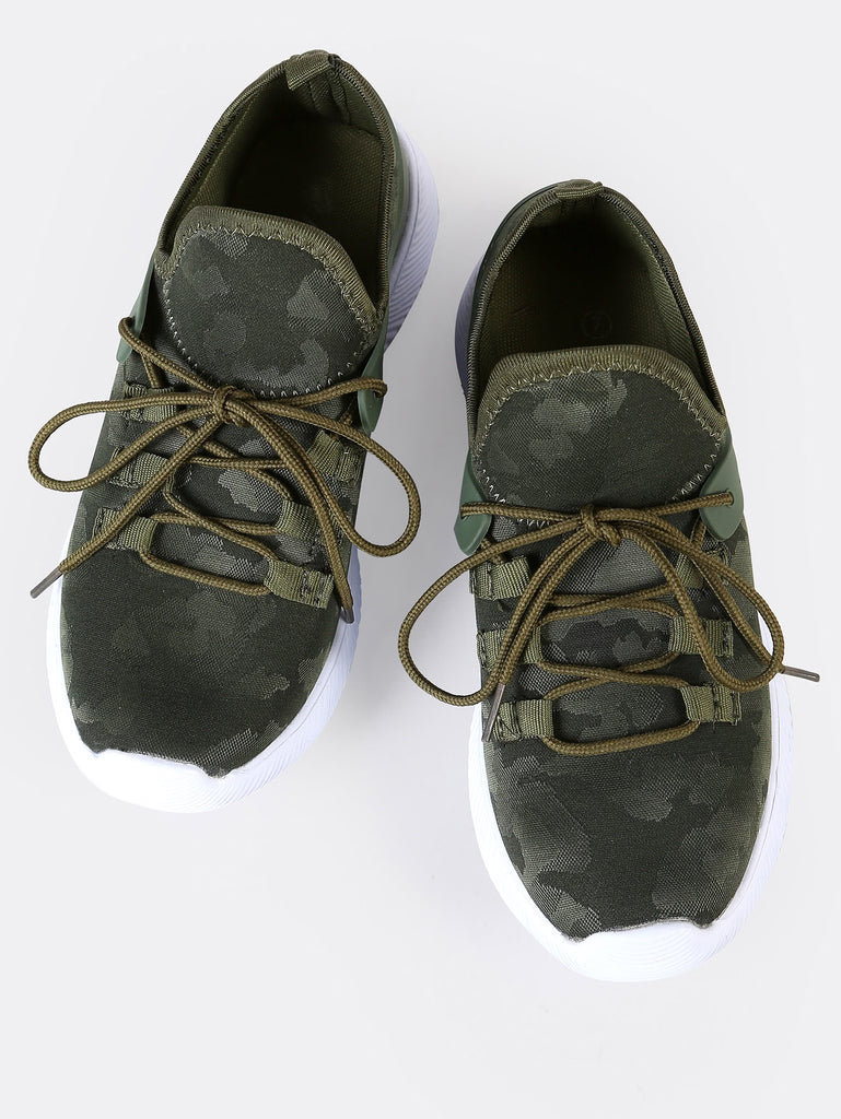 Camo Print Slip Lace Up Sneakers GREEN (2)