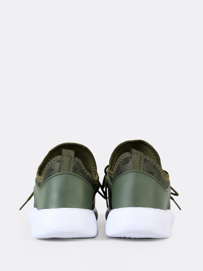 Camo Print Slip Lace Up Sneakers GREEN (3)