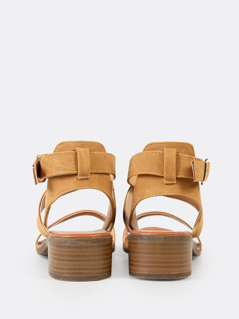Strappy Ankle Low Block Heel TAN (3)