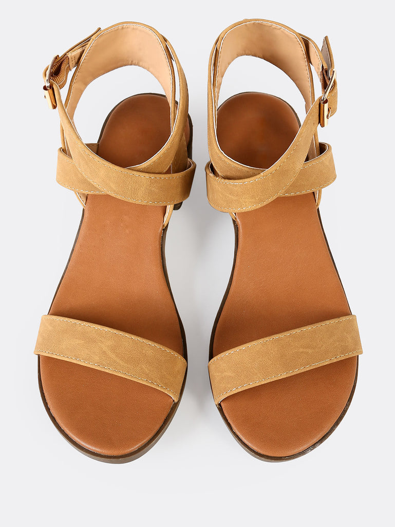 Strappy Ankle Low Block Heel TAN (2)