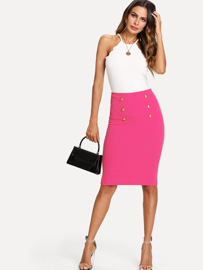 Double Button Pencil Skirt (2)