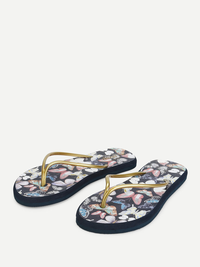 Butterfly Print Toe Post Sandals (4)