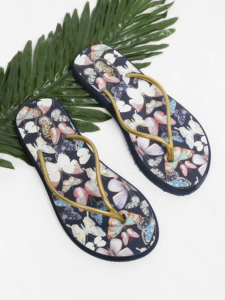 Butterfly Print Toe Post Sandals