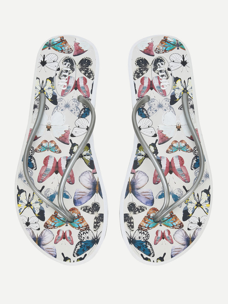 Butterfly Print Toe Post Sandals (2)