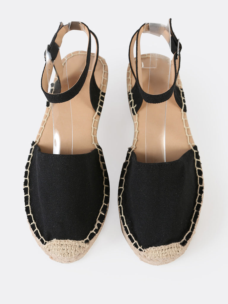 Closed Toe Espadrille Platform Wedge Sandal BLACK (2)