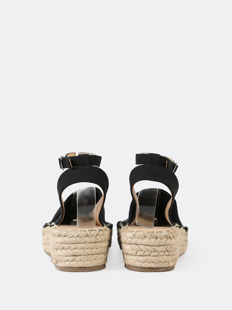 Closed Toe Espadrille Platform Wedge Sandal BLACK (3)