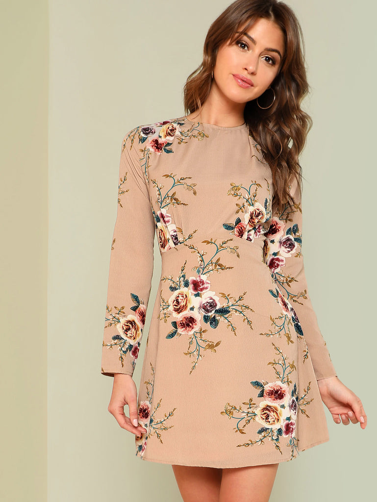 Flower Print Pleated Fit & Flare Dress
