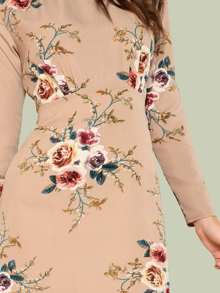 Flower Print Pleated Fit & Flare Dress (3)