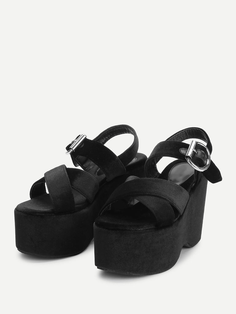 Criss Cross Velvet Platform Wedges (2)