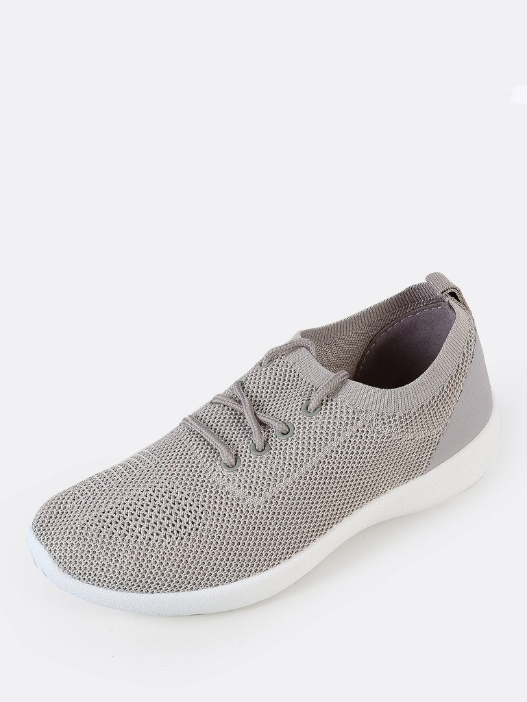 Slip On Lace Up Sneaker with Knit Design GREY (2)