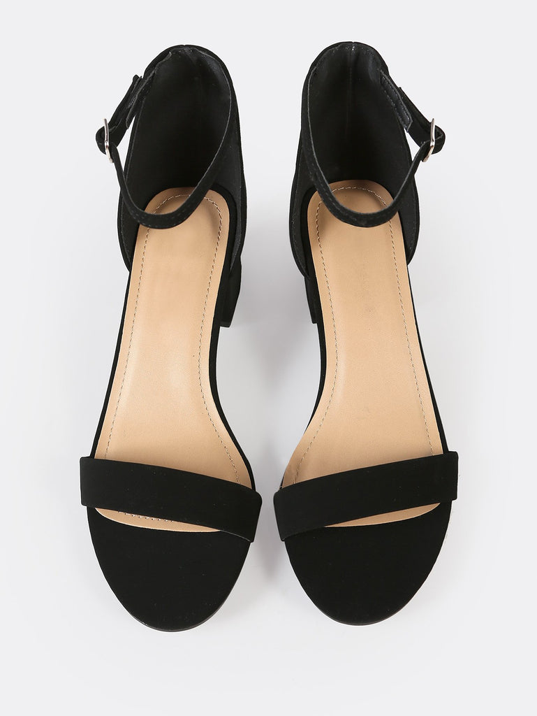 Faux Suede Ankle Strap Low Block Heel BLACK (2)
