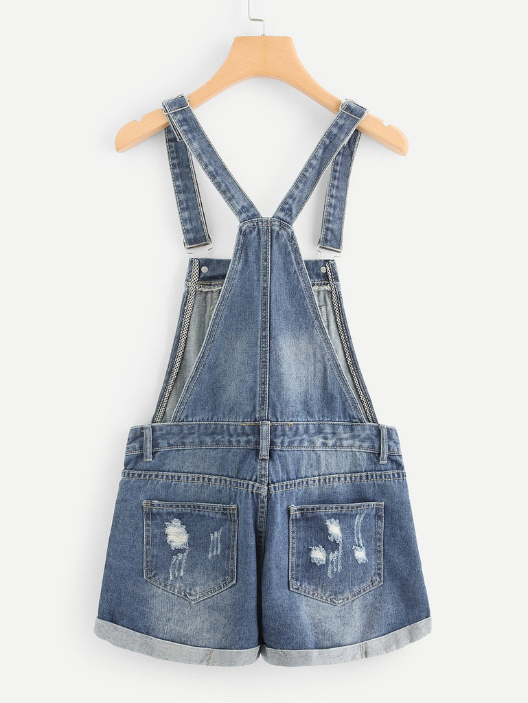 Ripped Cuffed Denim Overalls (3)