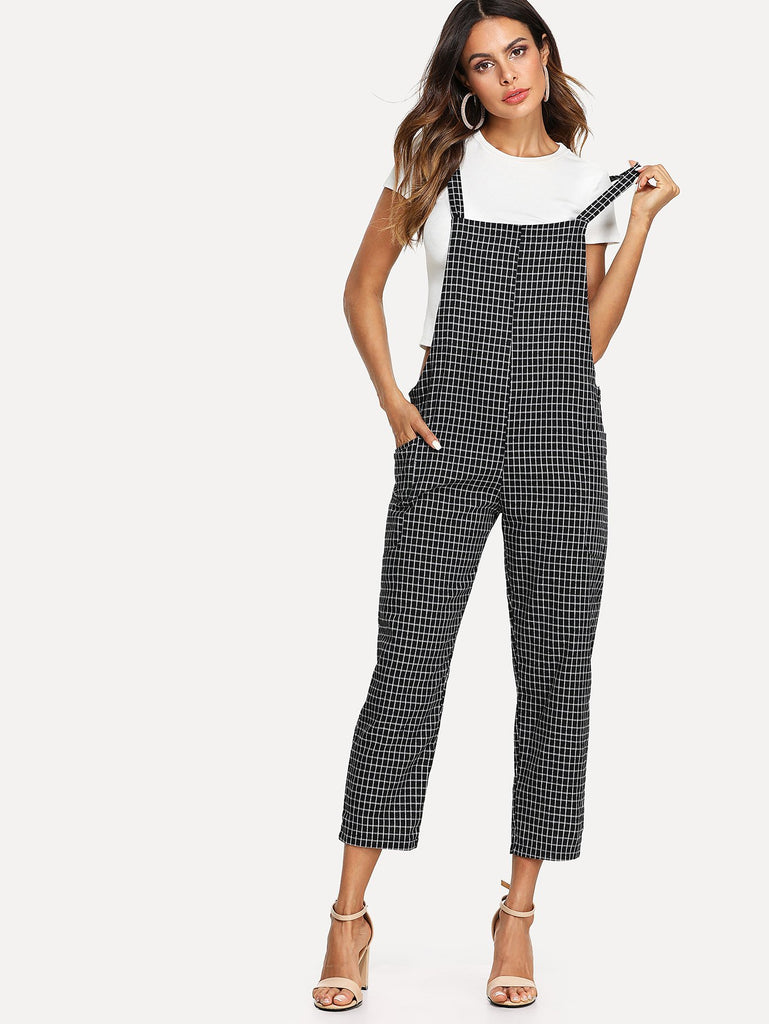 Criss Cross Back Checked Pinafore Pants