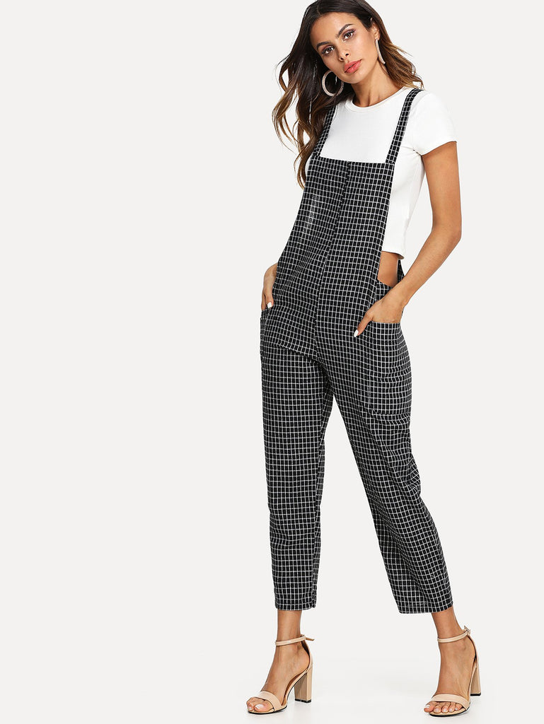 Criss Cross Back Checked Pinafore Pants (2)