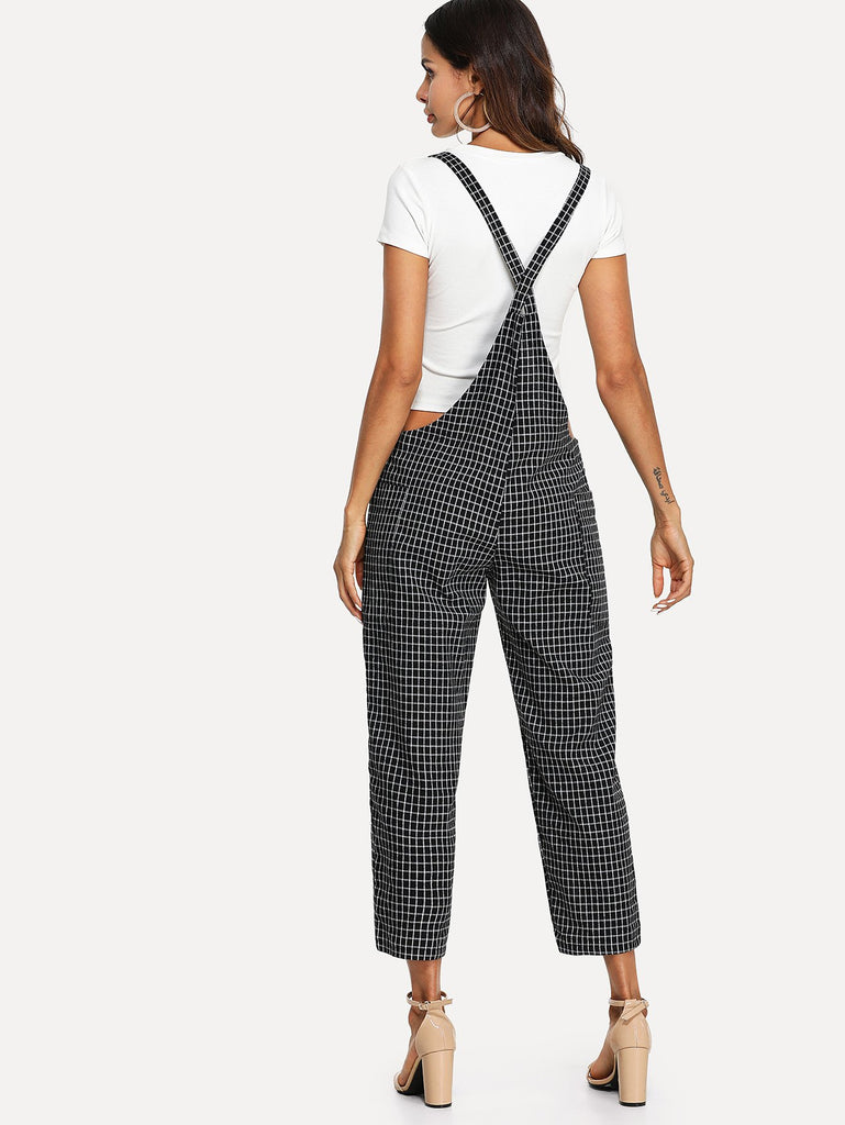 Criss Cross Back Checked Pinafore Pants (3)