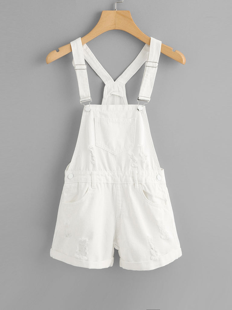 Pocket Front Ripped Denim Overalls
