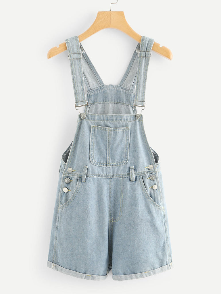 Pocket Front Roll Up Hem Denim Overalls
