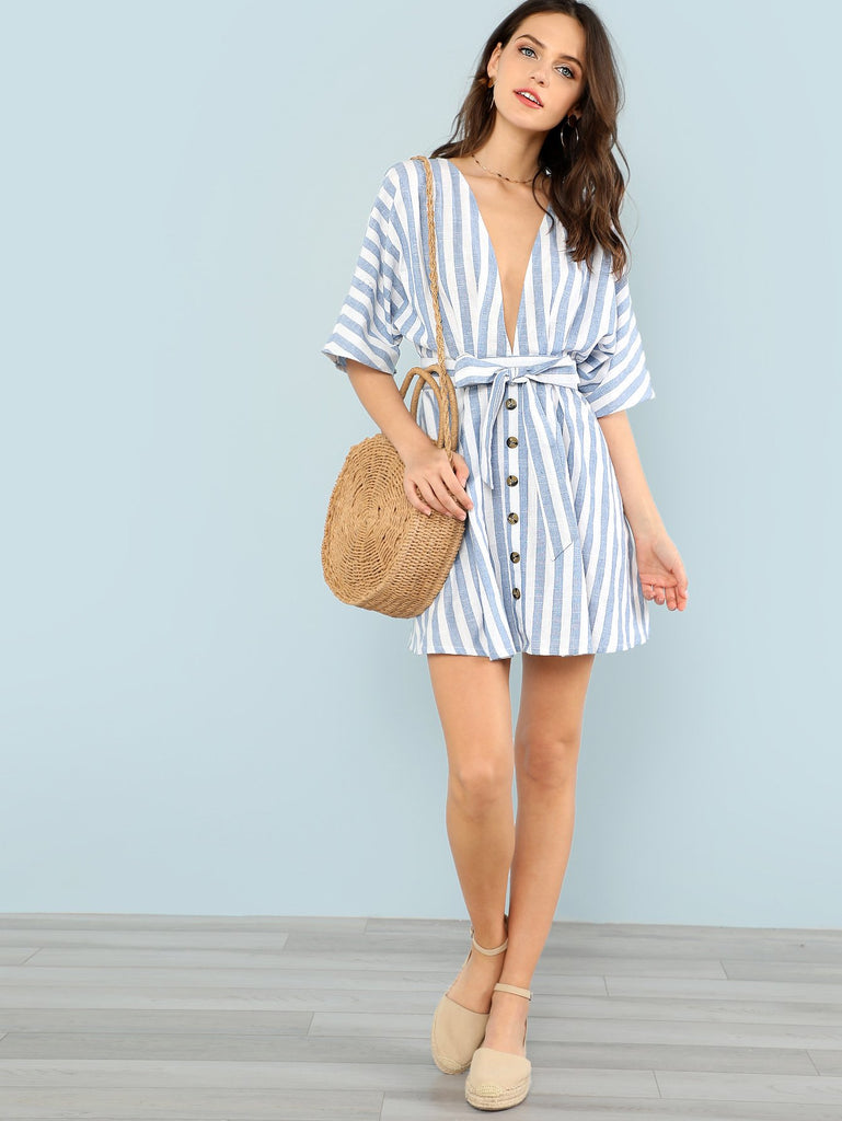 Deep V Neck Button Front Striped Dress (4)