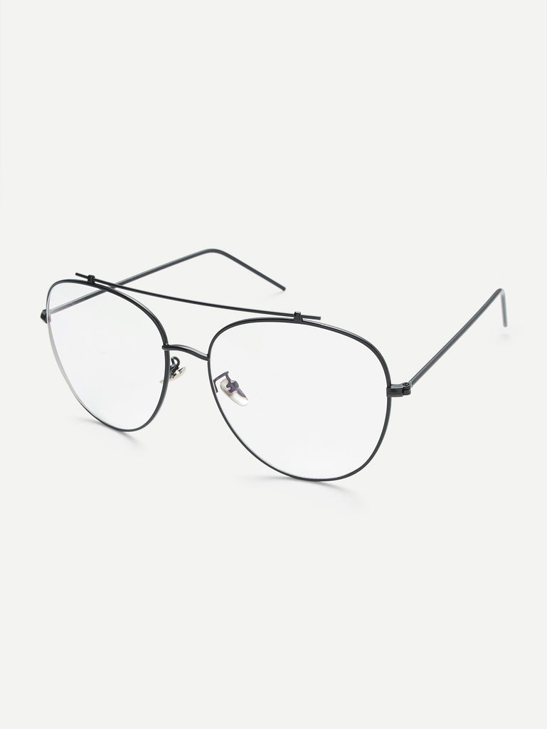 Black Frame Clear Lens Double Bridge Glasses (3)