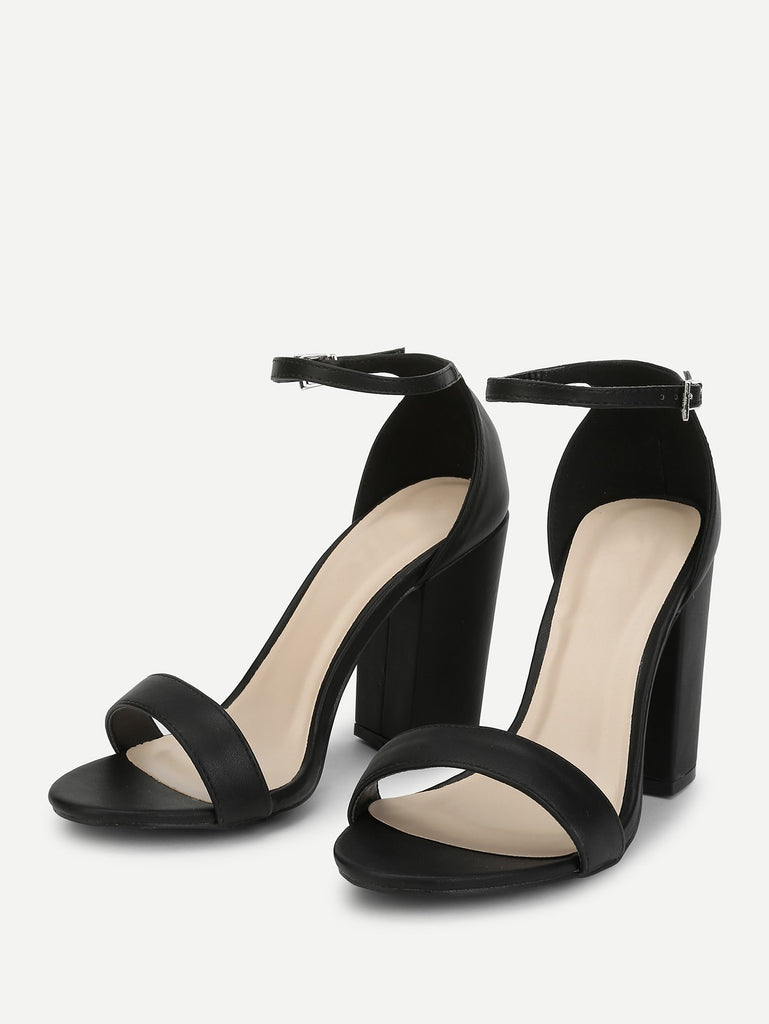 Two Part Ankle Strap Chunky Heels (3)