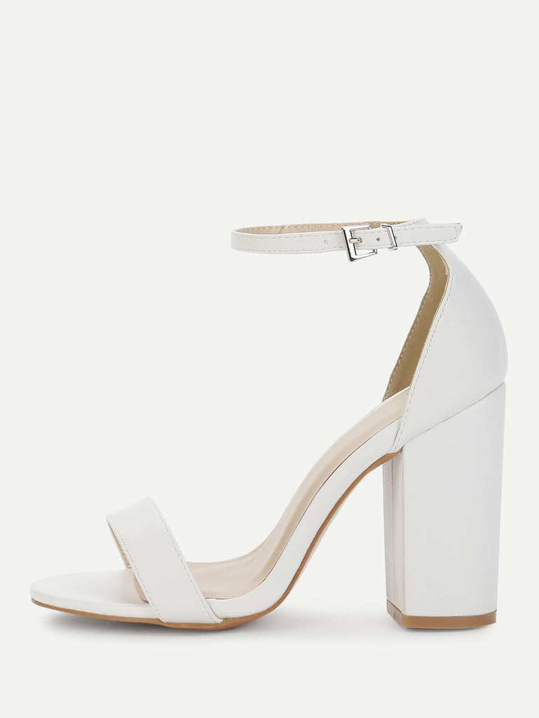 Two Part Ankle Strap Chunky Heels