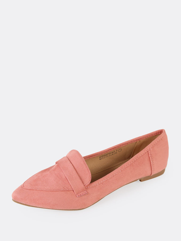 Faux Suede Pointy Toe Flat (2)