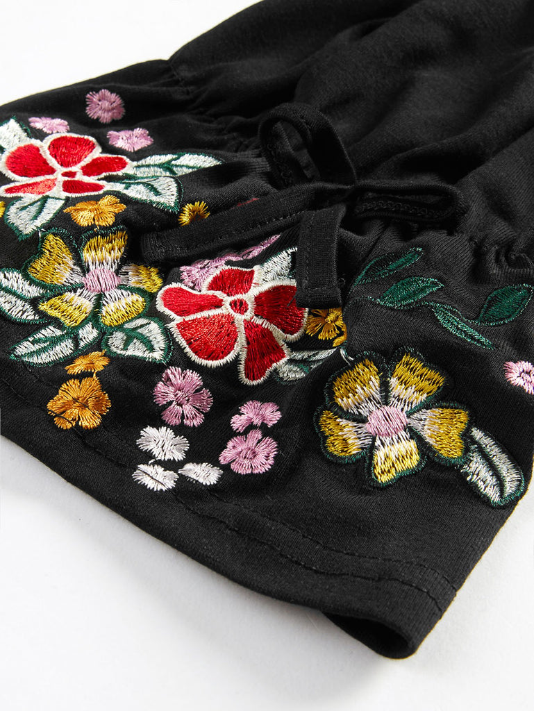 Flower Embroidery Cuff Tee (4)