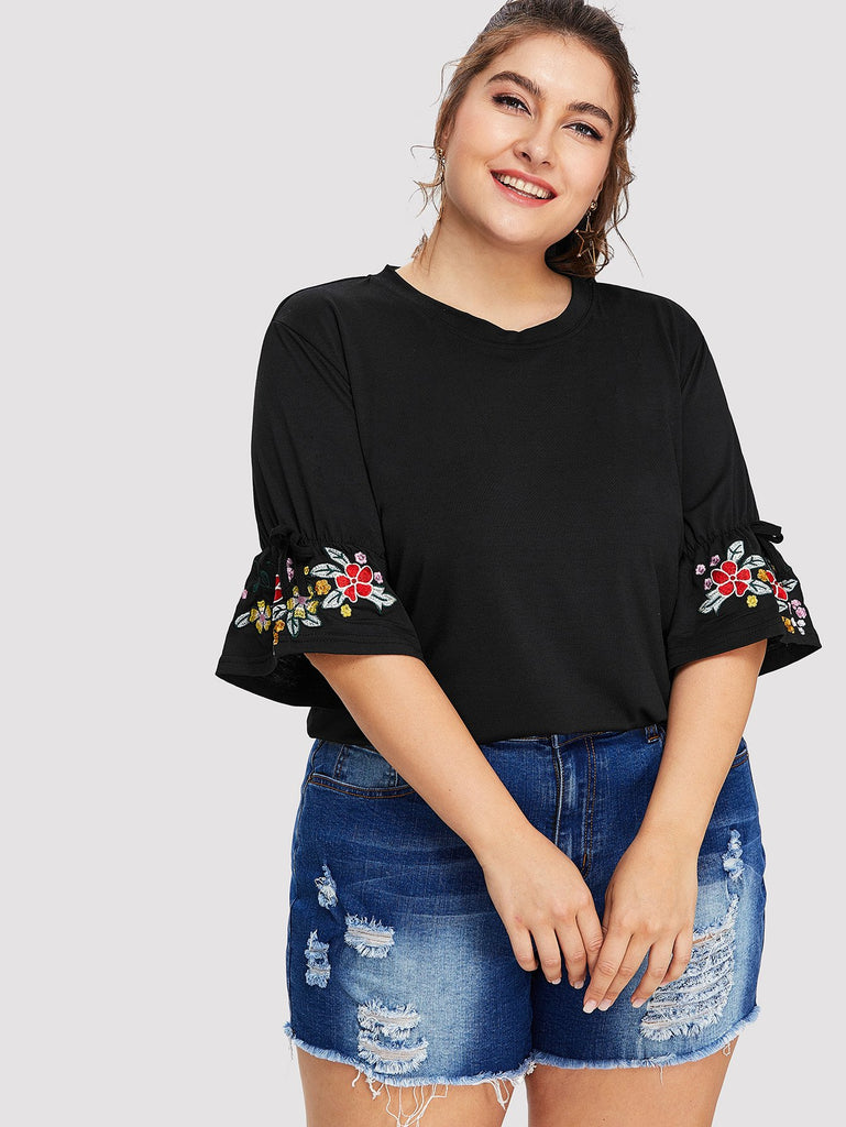 Flower Embroidery Cuff Tee