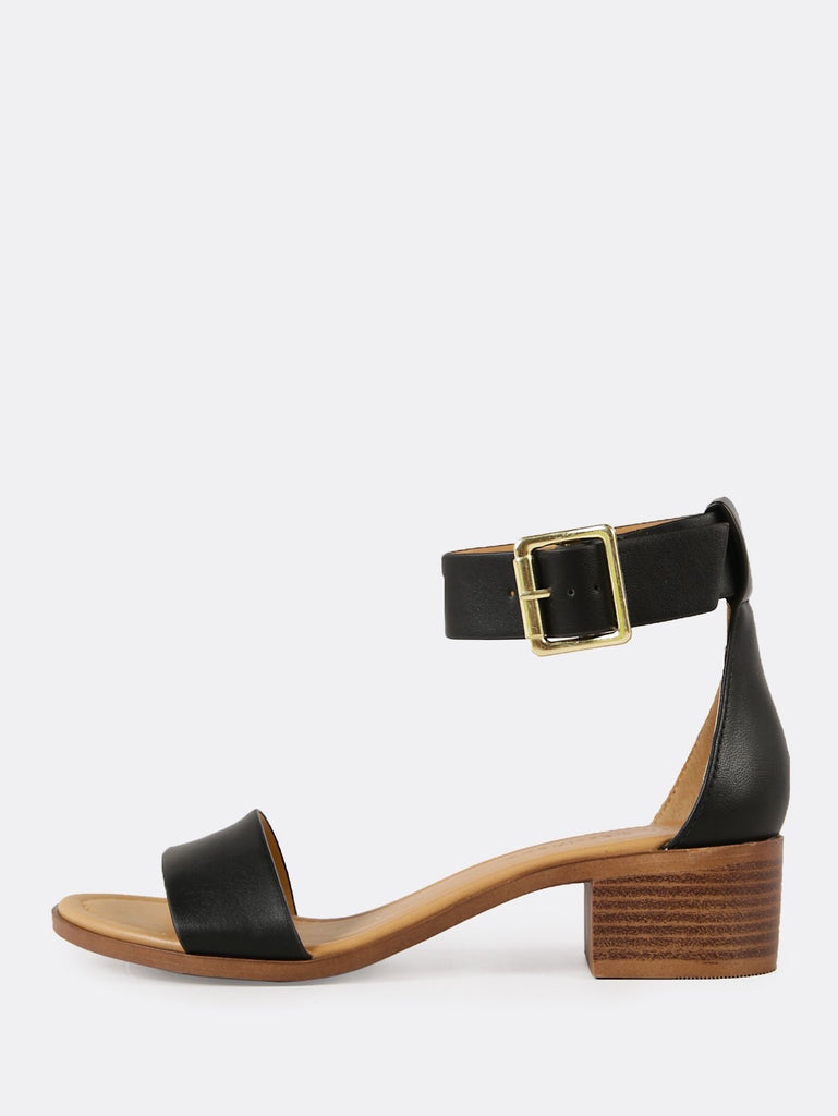 Ankle Strap Buckle Open Toe Low Block Heel
