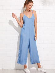 Wide Leg Cami Denim Jumpsuit