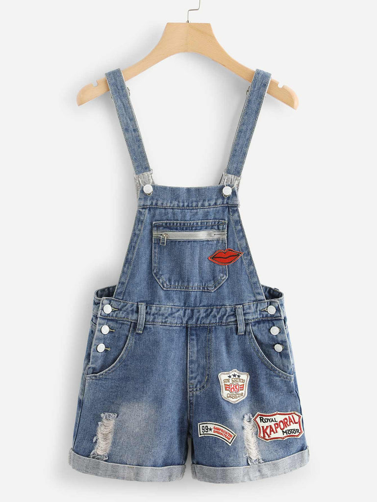 Patched Roll Hem Short Denim Overalls